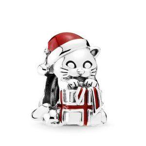 ❤️Pandora Christmas Kitten Charm